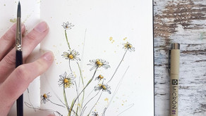From Reference to Stunning flowers in Watercolor and Ink