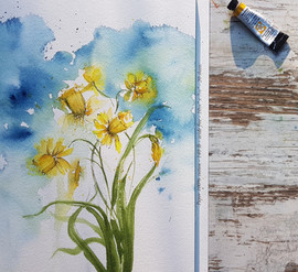 Daffodils in watercolor and ink