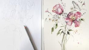 Composing a well balanced Watercolor Posy