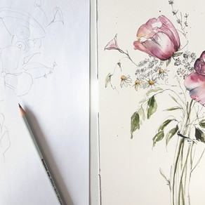 Composing a well balanced Watercolor Posy