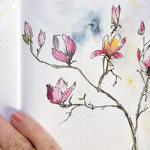 Giftcard: Flowers in Watercolor and Ink