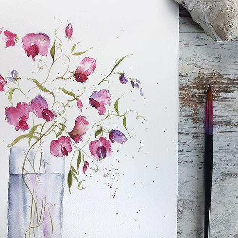 watercolor Sweetpeas for beginners.jpeg