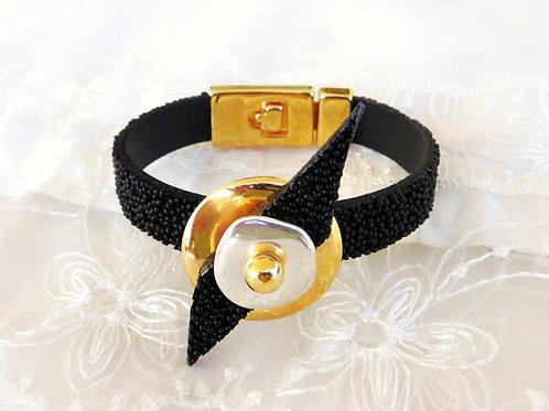 Black Caviar Leather Bracelet