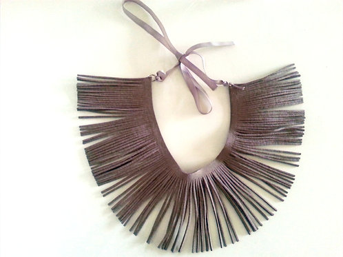 Gray Fringe Necklace