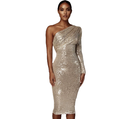 Gold Sequin One Shoulder Dress
