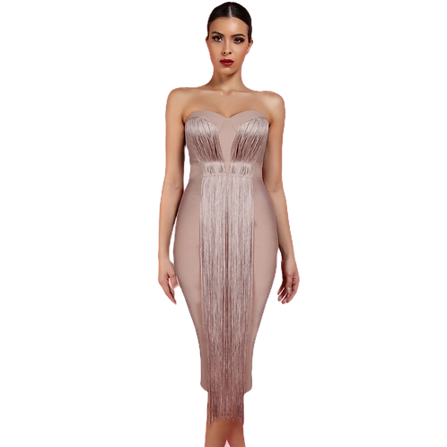 Nude Sweetheart Neckline Dress