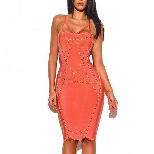Coral Stud Detail Bandage Dress