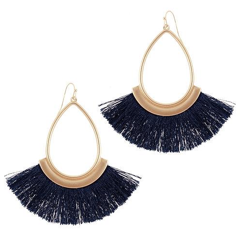 Navy Blue Fringe Earrings