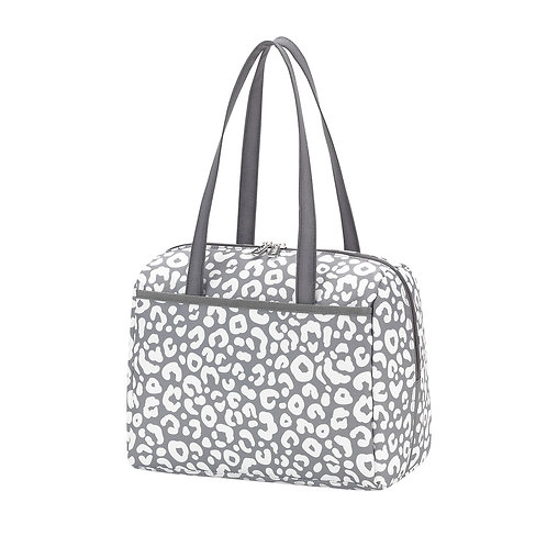Gray Leopard Lunch Tote - Custom Embroidered
