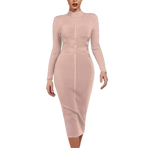 Tan Ribbed Midi Bandage Dress