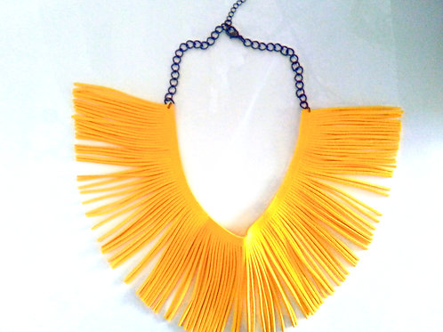 Yellow Fringe Necklace