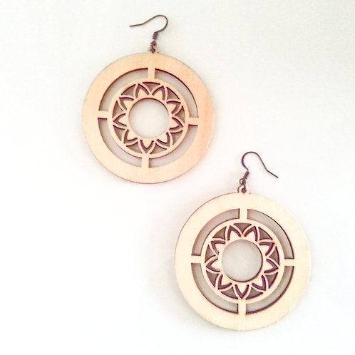 Laser Cut Circle Wooden Earrings