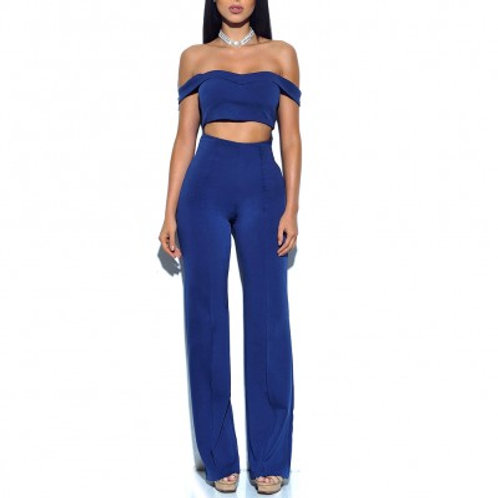 Blue Two Piece High Waist Pants Set