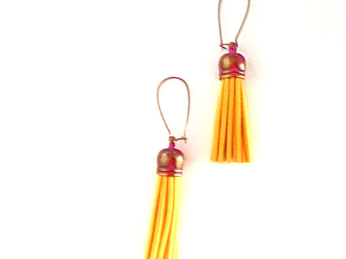 Mustard Yellow Fringe Earrings