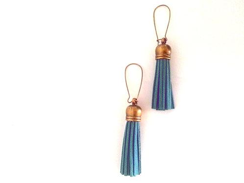 Blue Fringe Earrings