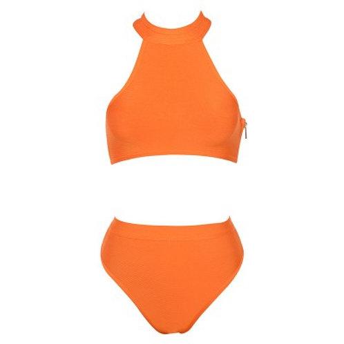 Two Piece Orange Bandage Swimsuit