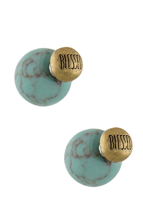 Double Sided Earrings Stamped Blessed