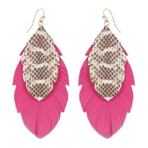 Pink Faux Snake Skin Earrings