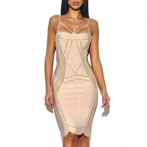 Nude Stud Detail Bandage Dress
