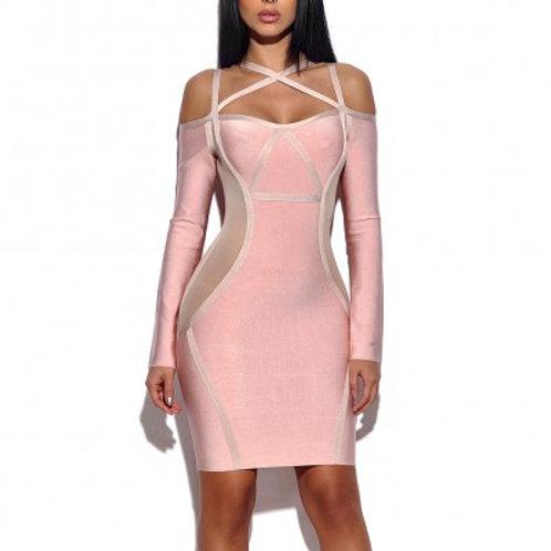 Pink Long Sleeve Bandage Dress