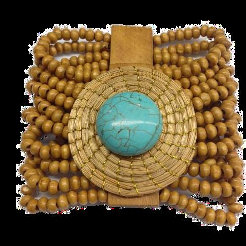 Turquoise Wooden Bead Bracelet