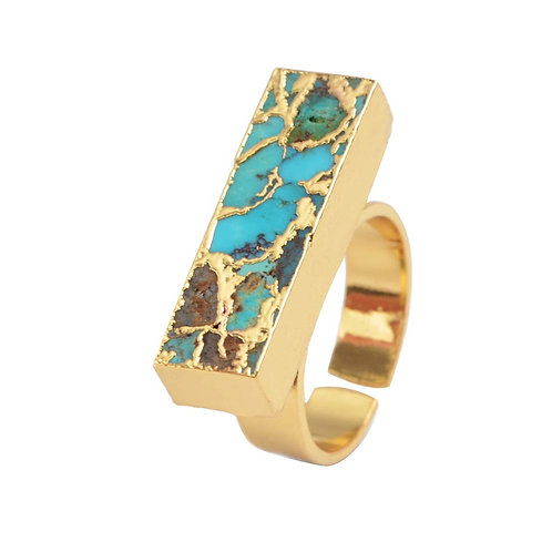 Turquoise and Gold Adjustable Ring