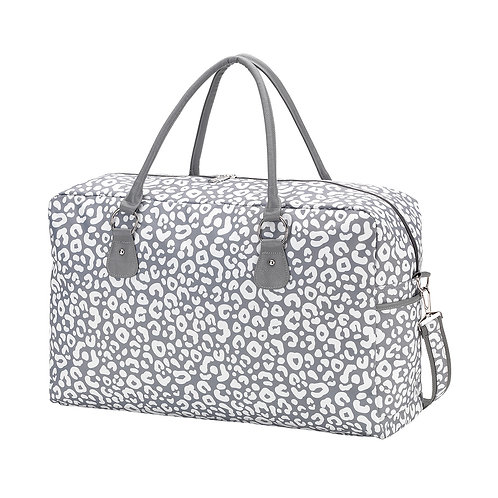 Gray Leopard Travel Bag - Custom Embroidered