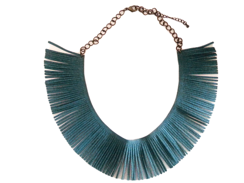 Teal Fringe Necklace