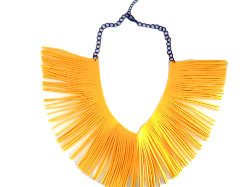 Yellow Fringe Necklace