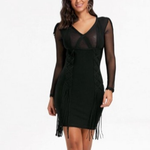 Black Mesh Inset Dress