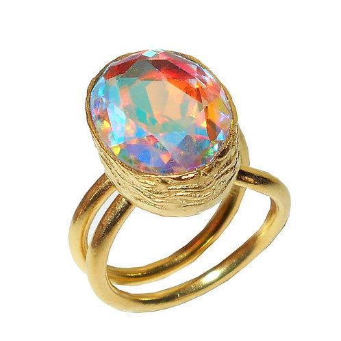 Rainbow Mystic Quartz Ring