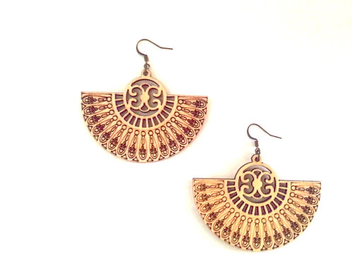 Wodden Fan Style Earrings