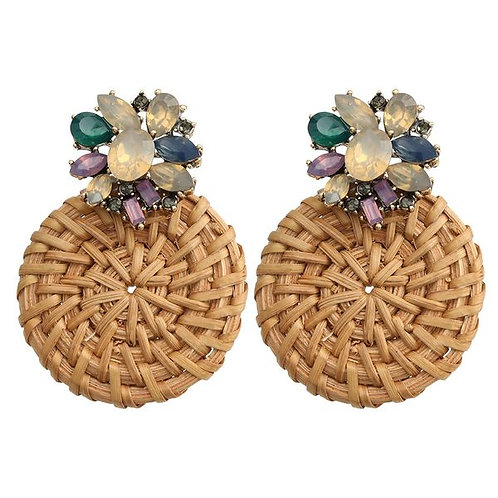 Round Rattan Earrings