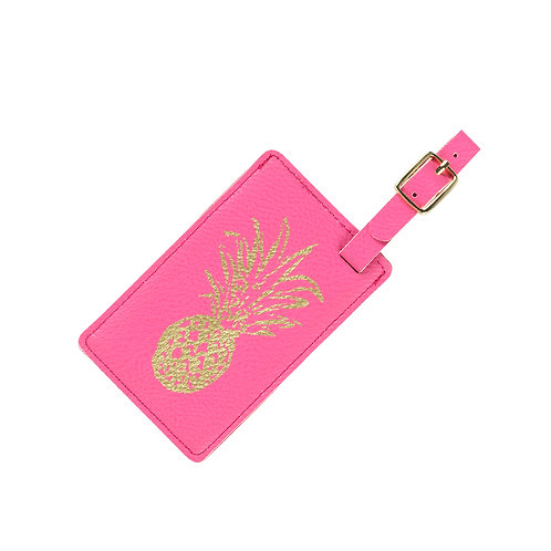 Pineapple Pink Leather Luggage Tag