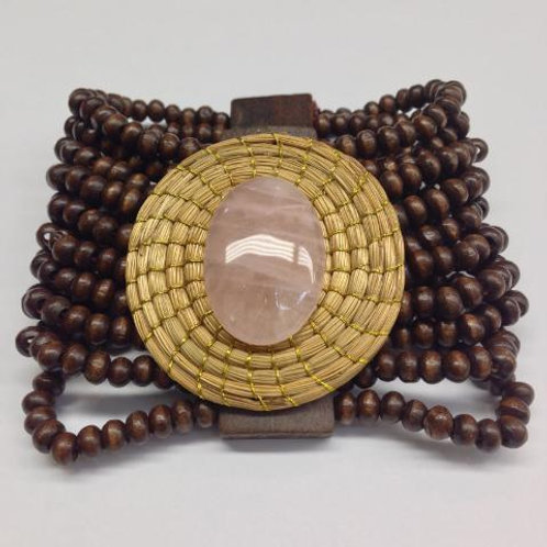 Pink Agate Wooden Beaded Bracelet