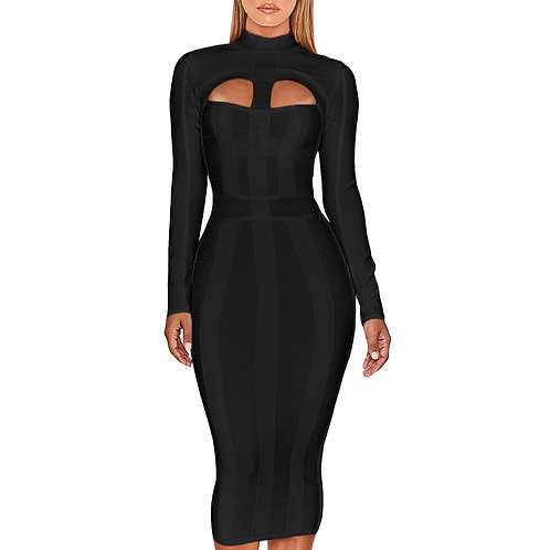 Black Cut Out Bandage Dress