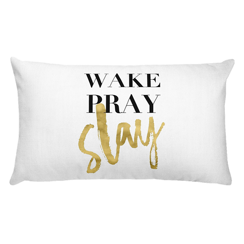 Wake Pray Slay Throw Pillow