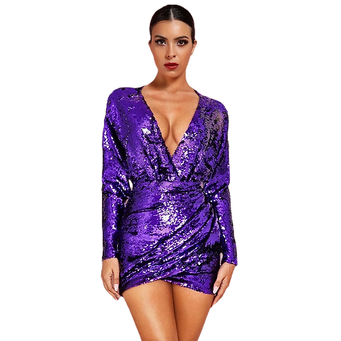 Purple Sequin Long Sleeve Dress