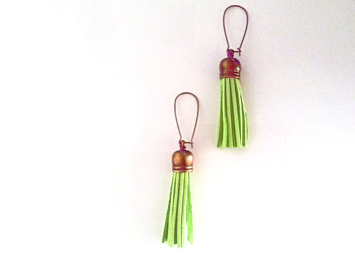 Lime Green Fringe Earrings