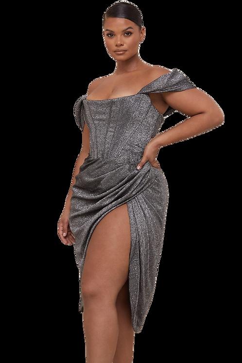 Silver Shimmer Off The Shoulder Dress