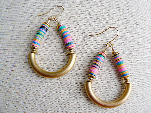 Multi Color Vinyl Bead Earrings