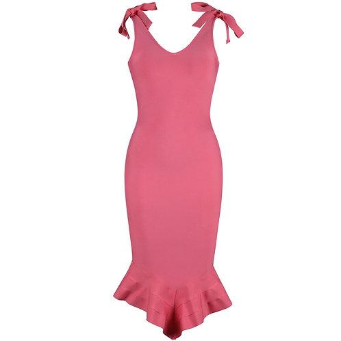 Coral Shoulder Tie Bandage Dress