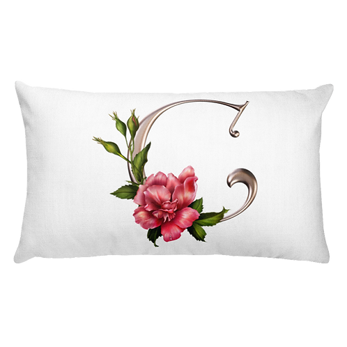 Rose Initial Accent Pillow
