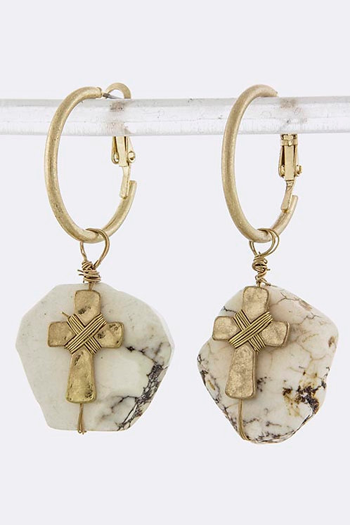 Ivory Stone Drop Earrings