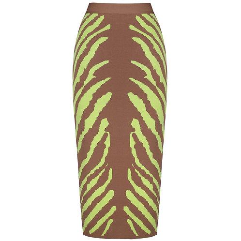 Brown and Lime Green Bandage Skirt