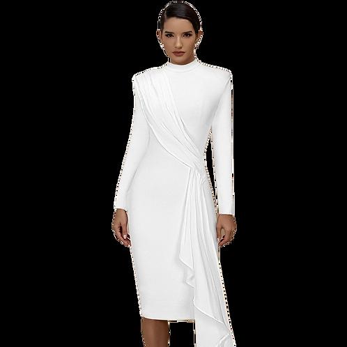 White High Neck Midi Dress