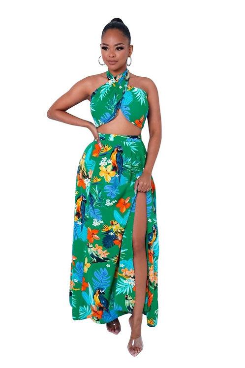 Tropical Print Skirt Set