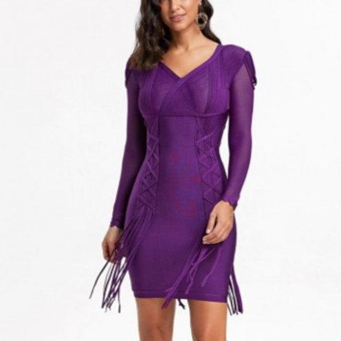 Mesh Inset Long Sleeve Dress