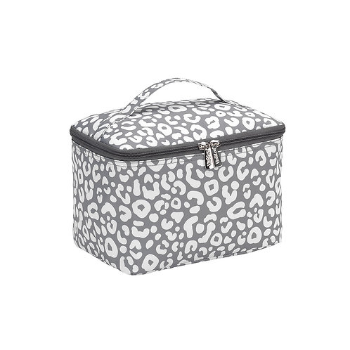 Gray Leopard Cosmetic Bag - Custom Embroidered