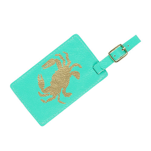 Crab Mint Leather Luggage Tag